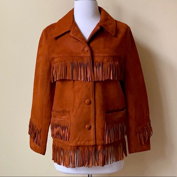 Vintage Jackets & Blazers - Vintage Suede Leather Fringe Button Down Jacket